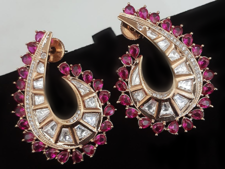 Ruby shell mirrored earrings