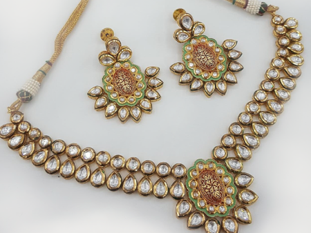 Big Kundan And Mint Necklace set