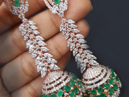American Diamond Green Jhumkis