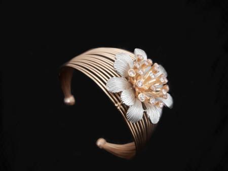 CoppeR Flower Handcuff Kada