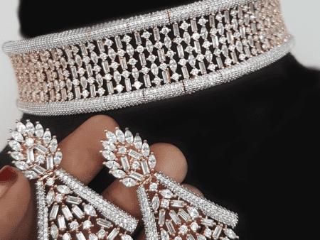Wide Harmony Diamond choker Set